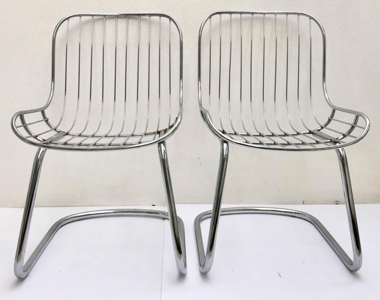 mid century modern wire chair men s valet uk 60 pair of italian gaston rinaldi style chrome cantilever chairs for