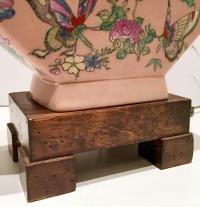 """Antique Famille Porcelain Hand-Painted """"Butterfly"""" Lamp ..."""