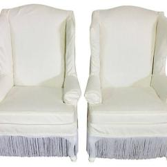 White Cotton Wing Chair Slipcover Office Max Pair Of Tall Wingback Chairs For