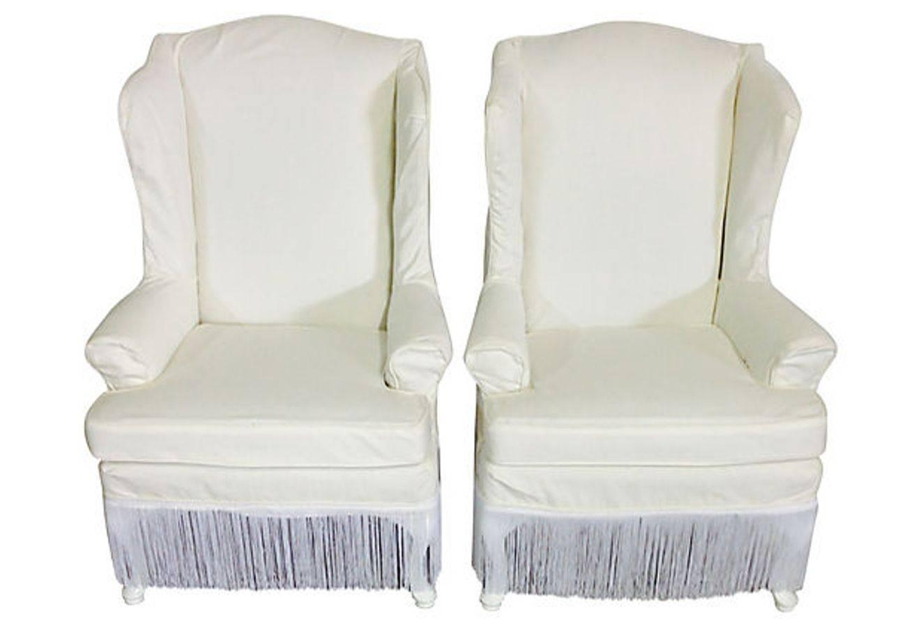 White Chair Slipcover Pair Of Tall White Cotton Slipcover Wingback Chairs For
