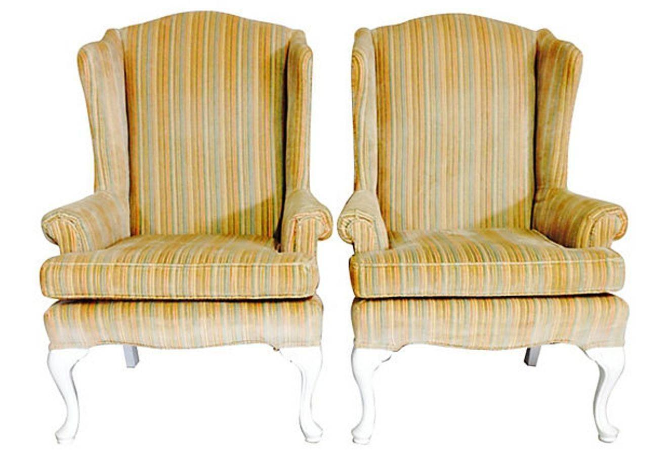 white cotton wing chair slipcover ted modern barrel pair of tall wingback chairs for