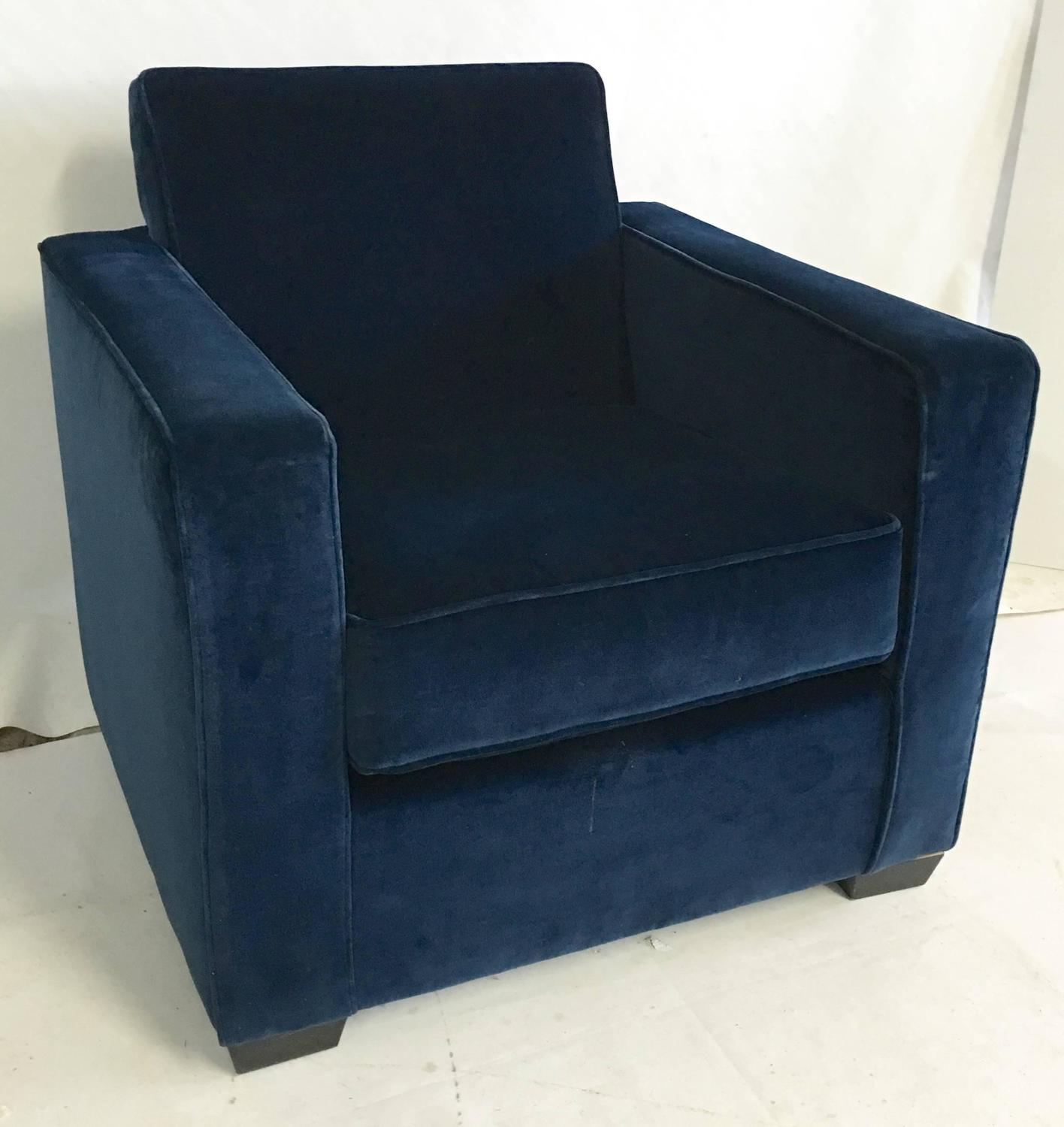 Velvet Club Chair Ralph Lauren Art Deco Style Blue Velvet Club Chair For