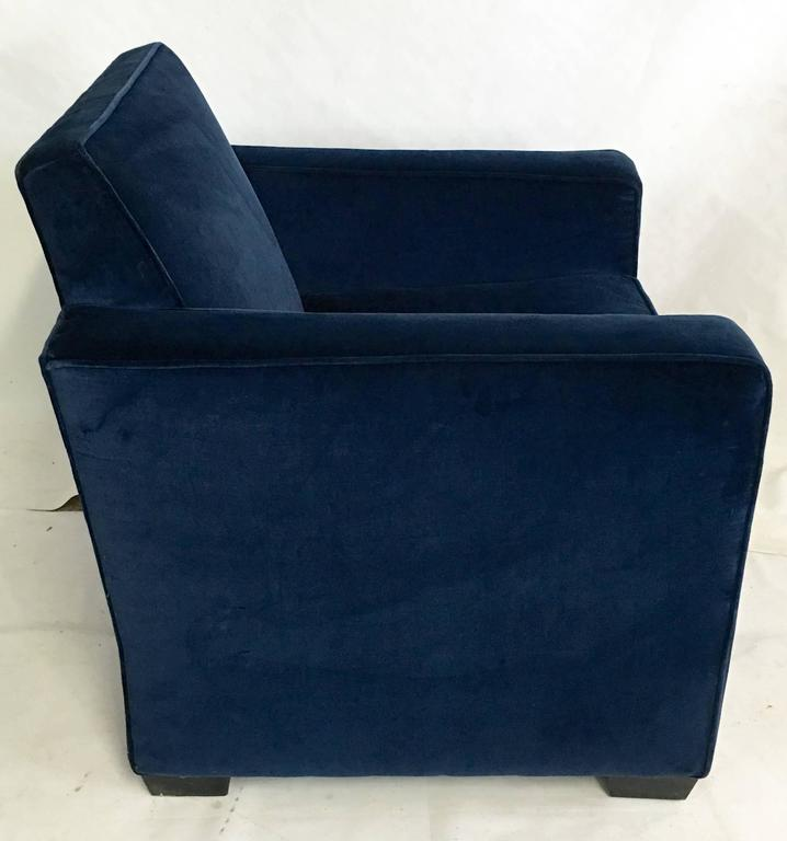 navy blue velvet club chair refinishing dining room chairs ralph lauren art deco arm at 1stdibs american for sale