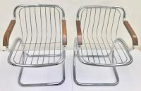 Pair Of Italian Gastone Rinaldi Style Chrome and Wood ...