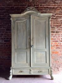 Antique French Painted Armoire Wardrobe Solid Pine Painted ...