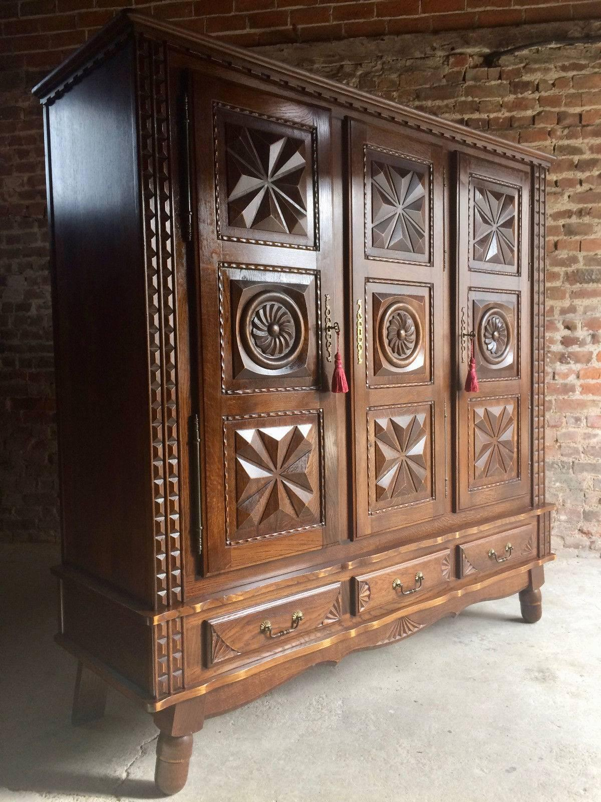 Antique Style French Oak Armoire Wardrobe Large Carved Bedside Cabinet at 1stdibs