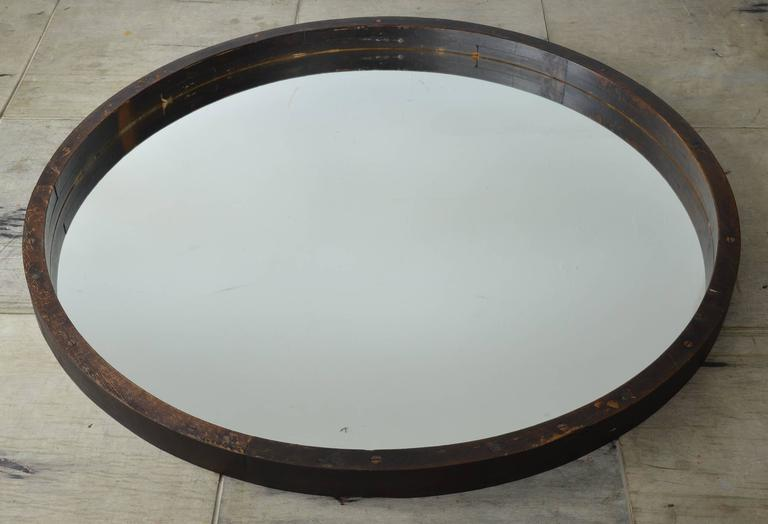 Large Antique Industrial Style Wooden Framed Round Mirror