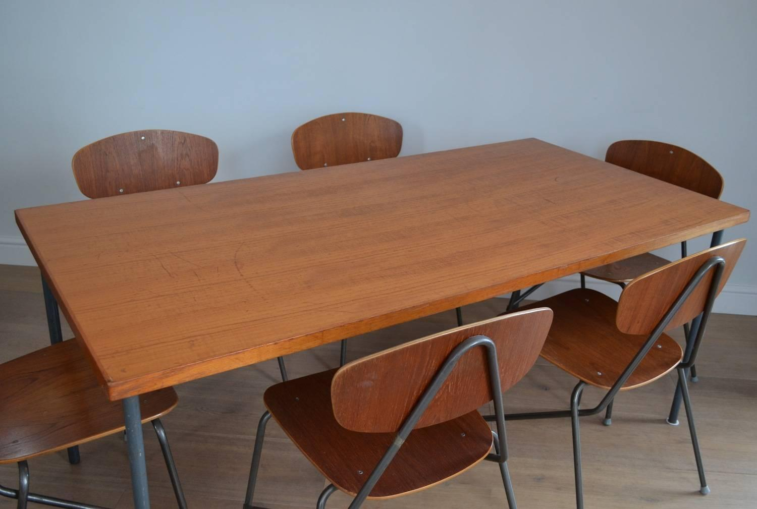 industrial dining table and chairs vintage convertible high chair remploy six stacking