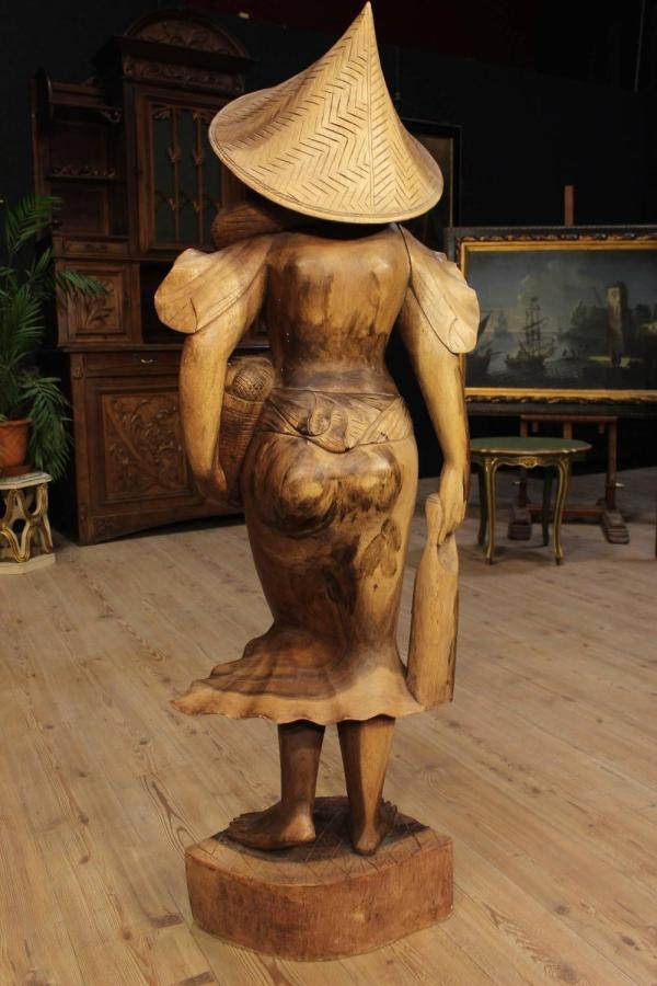 20th Century Wooden Sculpture Depicting Female Character 1stdibs