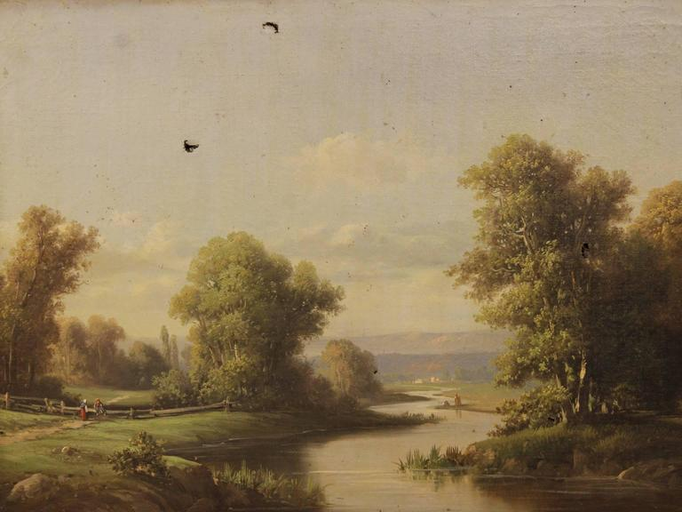 19th Century Pair of French Paintings Depicting Landscape