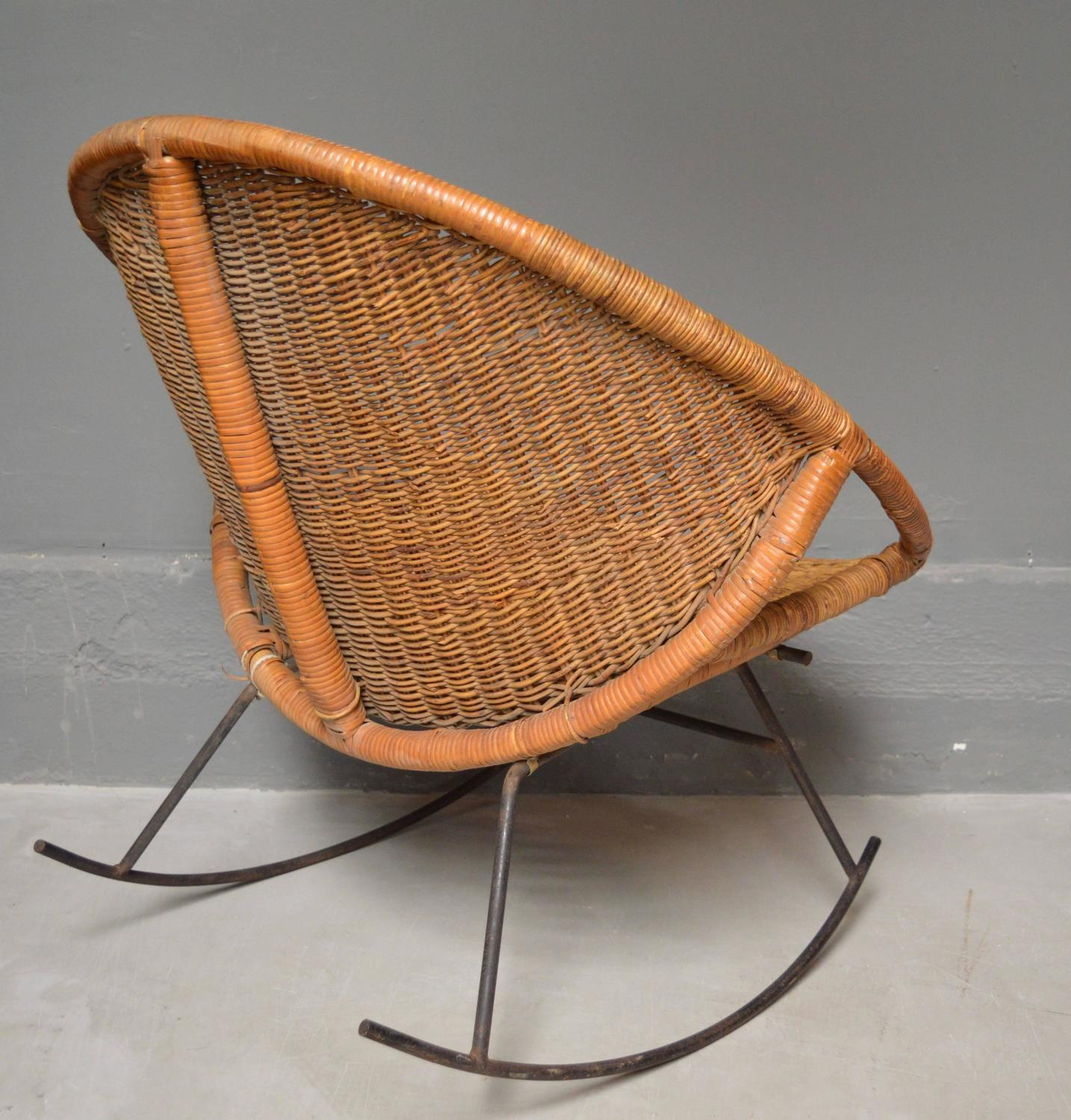 Iron Rocking Chair Rattan And Iron Rocking Chair At 1stdibs