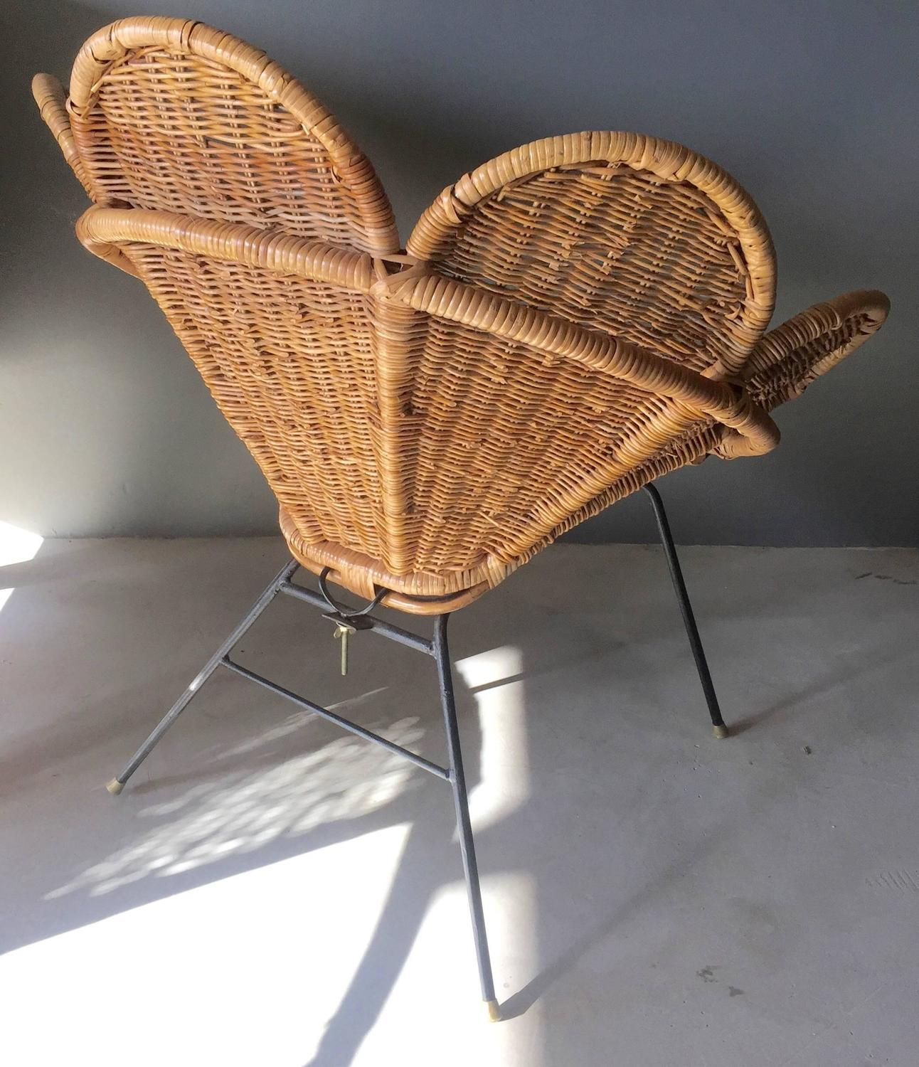 wicker chair for sale knoll life replacement parts rattan and iron flower at 1stdibs