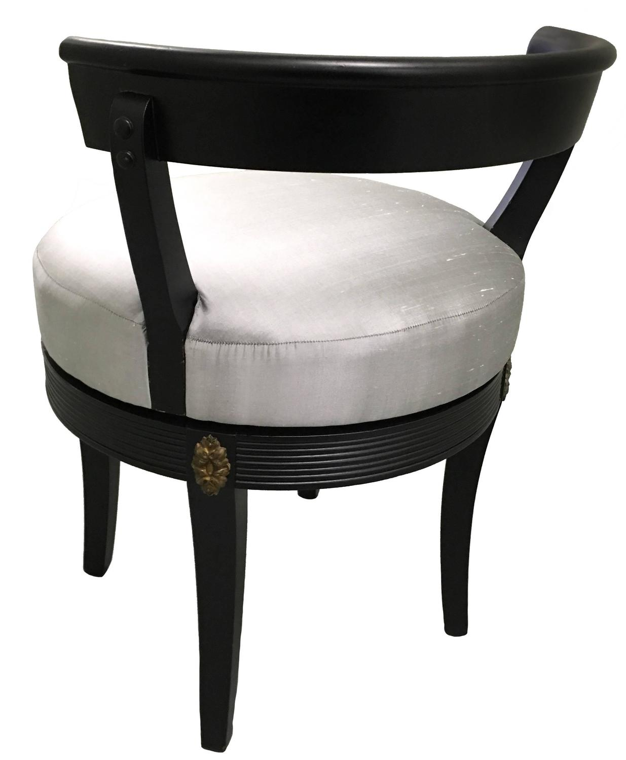 swivel vanity chair cheap air horn under office prank hollywood regency style black stool at 1stdibs