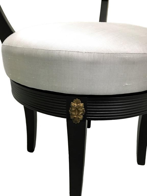Hollywood Regency Style Black Swivel Vanity Stool at 1stdibs