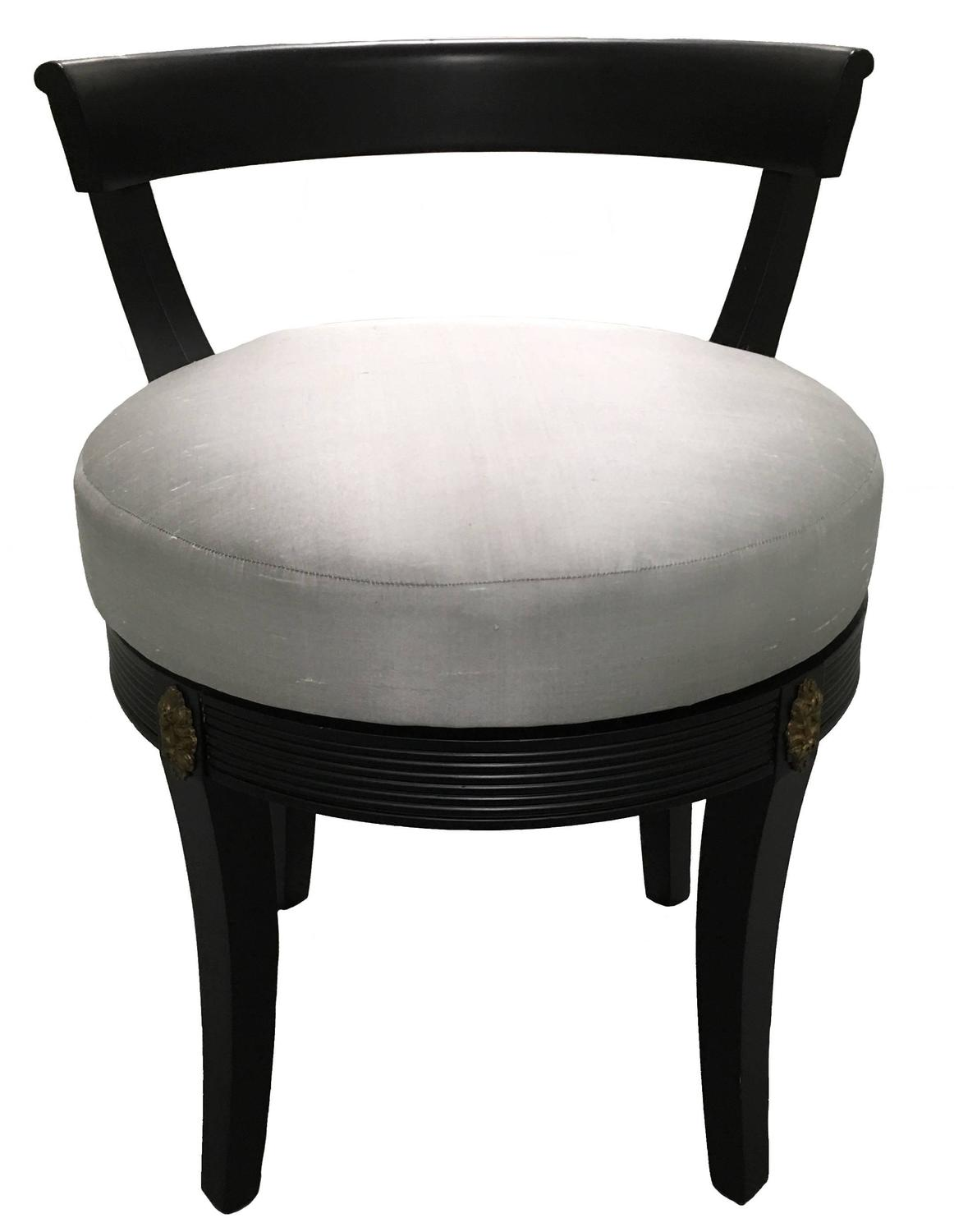 vanity chair with back inflatable lawn hollywood regency style black swivel stool at 1stdibs
