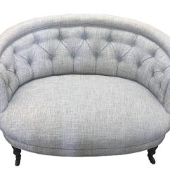 French Linen Tufted Sofa Dylan 3 Seater Leather With Chaise Petite Napoleon Iii Round Scroll Back For Sale ...