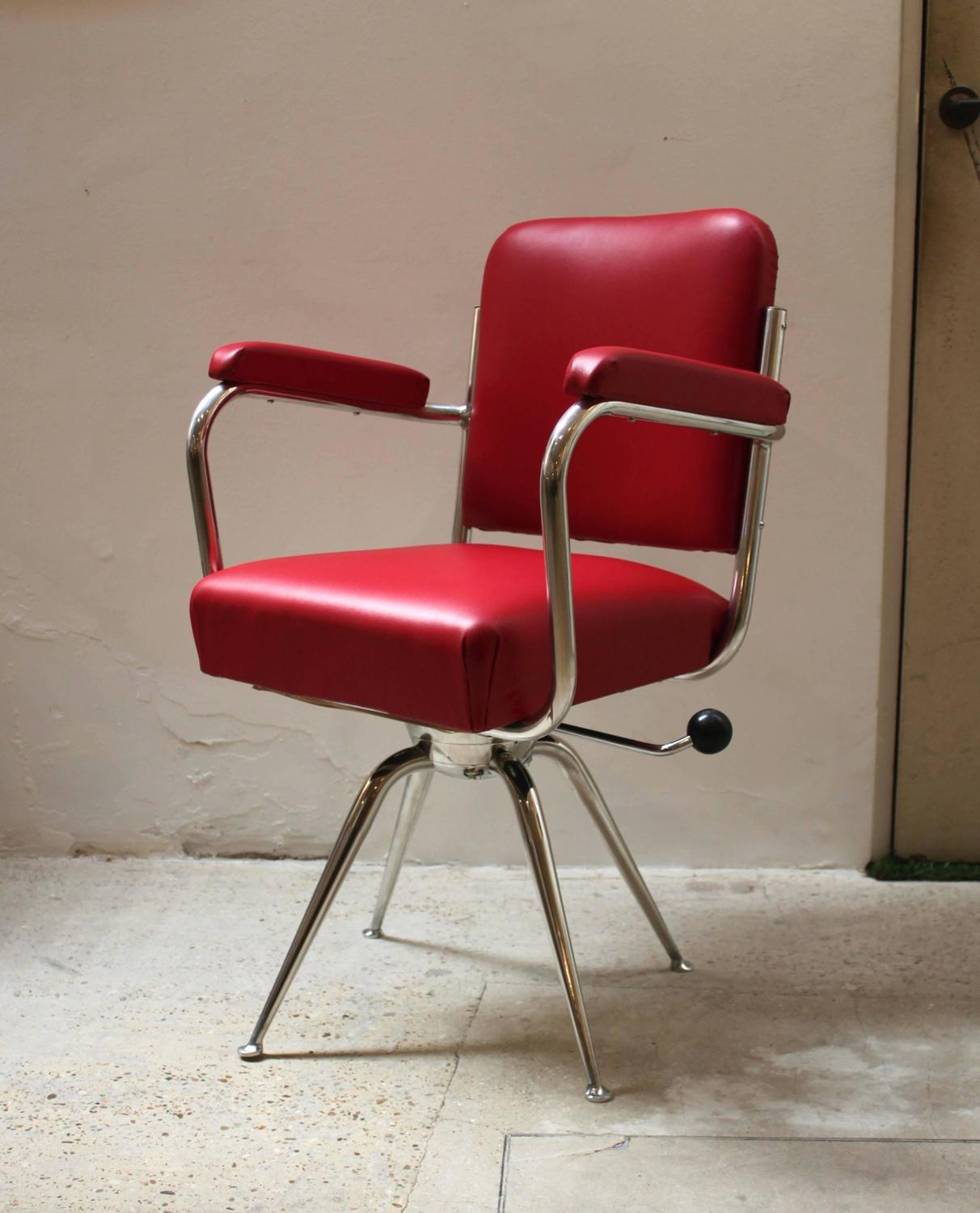 red leather desk chair brown club recliner chrome and for sale at 1stdibs