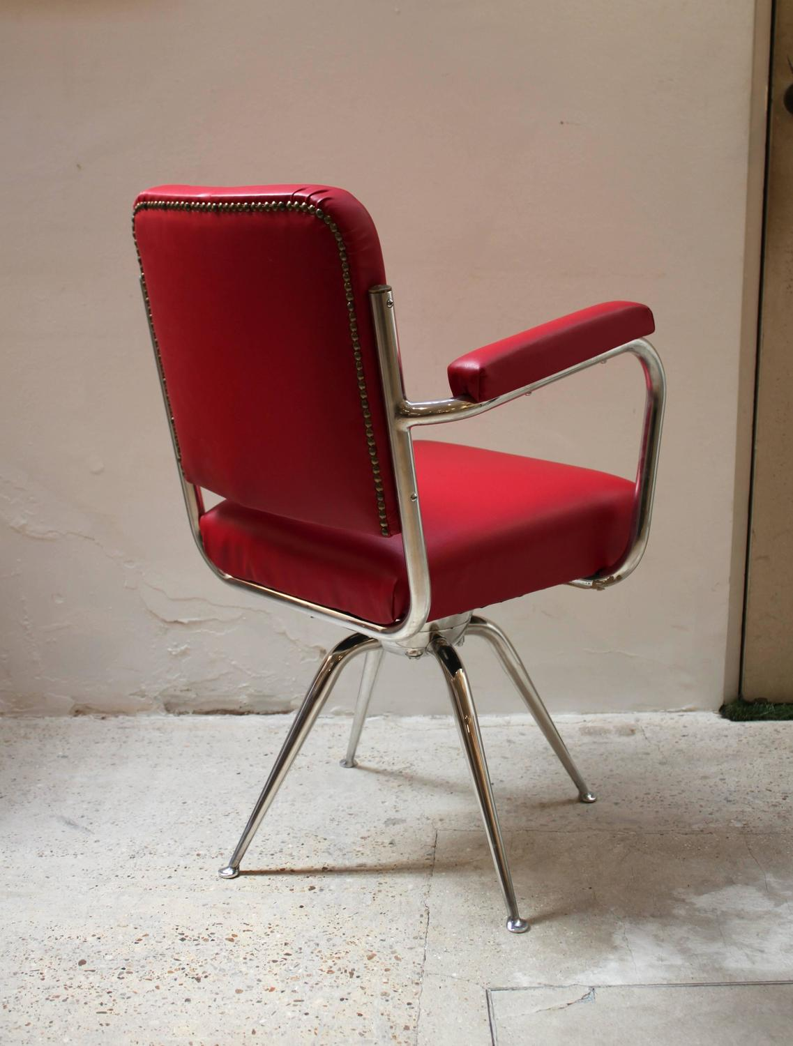 red leather desk chair oversized sling chrome and for sale at 1stdibs