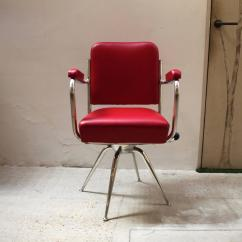 Red Leather Desk Chair Sinking Chrome And For Sale At 1stdibs