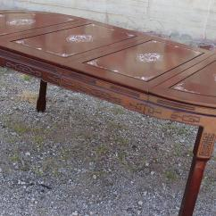 Chinese Rosewood Dining Table And Chairs Eames Executive Chair Replica Vintage Mother Of Pearl