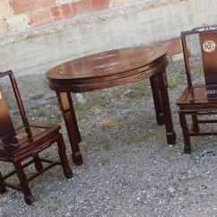 Japanese Table And Chairs Rustic Leather Vintage Chinese Rosewood Mother Of Pearl Dining