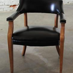 Captain Chairs Dining Room How To Build A Wooden Chair Vintage Walnut And Black Faux Leather With