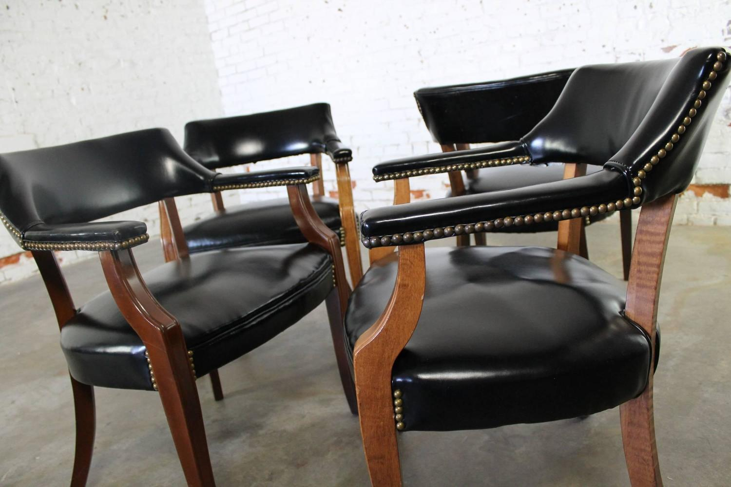 Leather Dining Chairs With Nailheads Vintage Walnut And Black Faux Leather Captain Chairs With