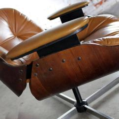 Black Leather Swivel Lounge Chair Table And Rentals Mid-century Modern Plycraft Eames-style Ottoman At 1stdibs