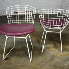 Mid Century Modern Wire Chair Folding B&m Vintage Bertoia White Side Chairs