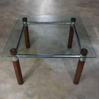 Oak Chrome Glass End Table Mid-Century Modern For Sale at ...