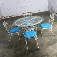 Turquoise Patio Chairs Wedding Chair Covers Blackpool Salterini Style Wrought Iron Set Round Table Four Hollywood Regency Seats For Sale