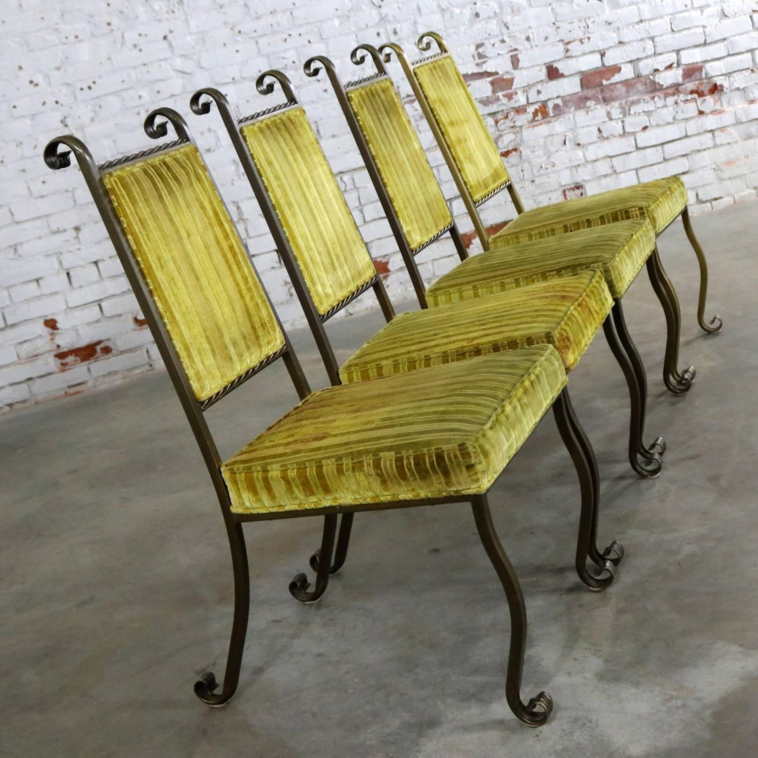 wrought iron dining chairs back support for office chair four hollywood regency by swirl craft of american sun valley sale