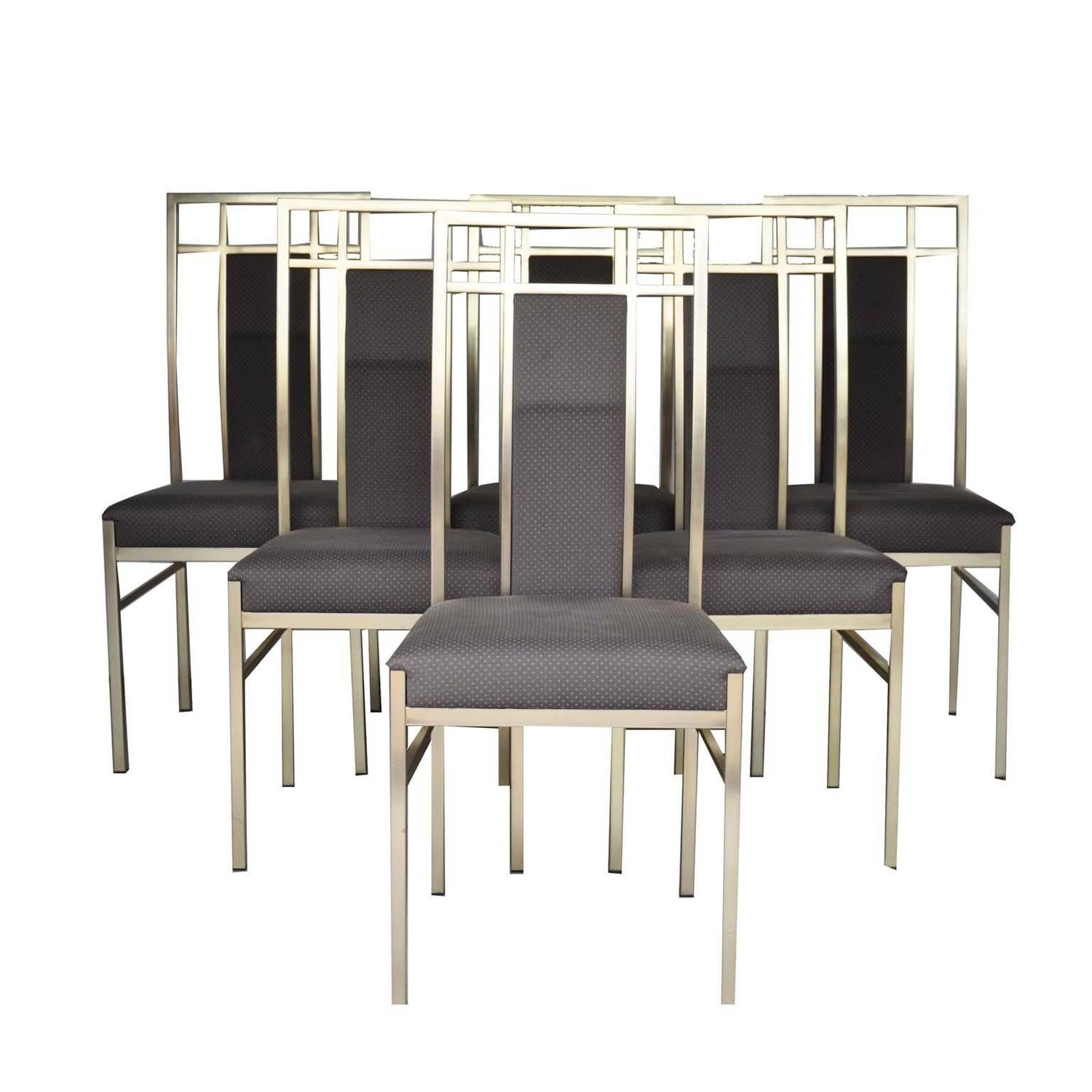 gold dining chairs desk for bad backs uk italian set of in metal and fabric