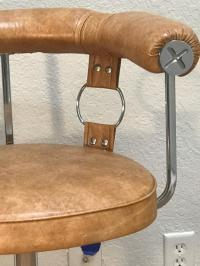 Three 1970s Buckle Motif Bar Stools For Sale at 1stdibs