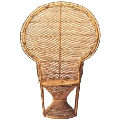 Rattan Peacock Chair Desk Gas Cylinder Iconic Emmanuelle Midcentury For Sale At