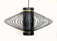 Mid-Century Modern Brass and Black Enameled Metal Pendant ...