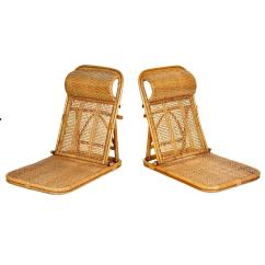 Folding Wicker Chairs Wooden Rocking Chair Plans Rattan And Beach Pair At 1stdibs