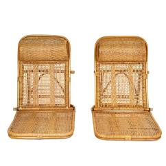 Folding Wicker Chairs Samsonite Patio Chair Replacement Parts Rattan And Beach Pair At 1stdibs