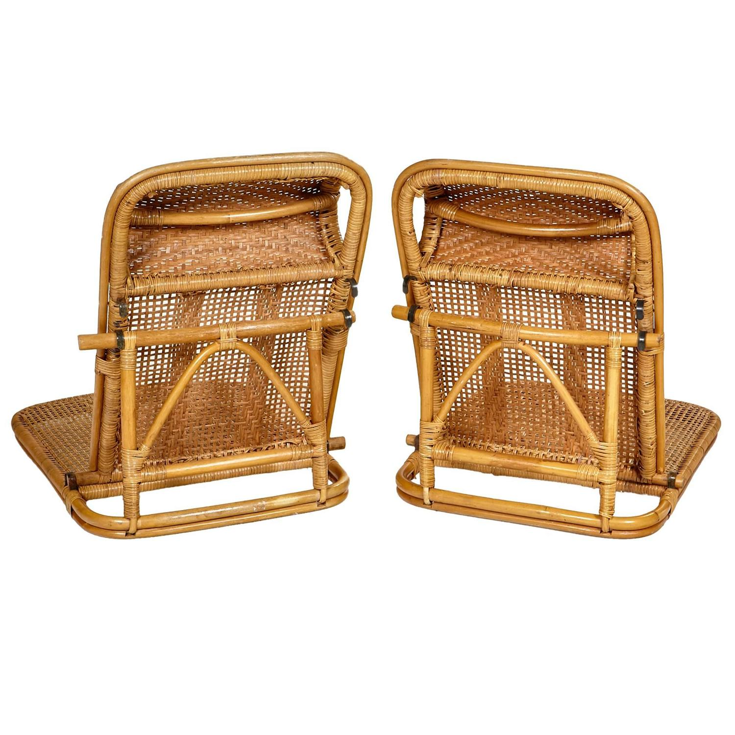folding wicker chairs student table and chair set rattan beach pair at 1stdibs