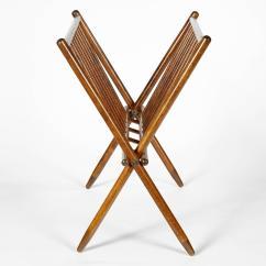 Yugoslavian Folding Chair Standing Yoga Exercise For Seniors Arthritis Vintage X Form Yugoslavia Walnut Magazine Rack