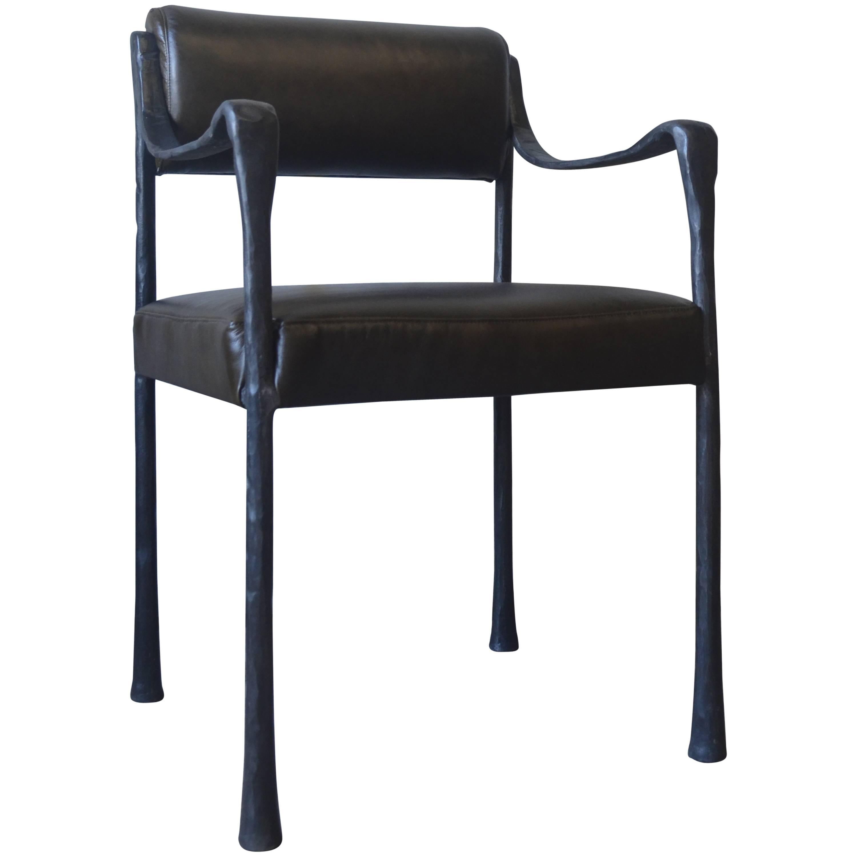 metal frame leather dining chair salon chairs for sale used art deco style giac upholstered with cast and