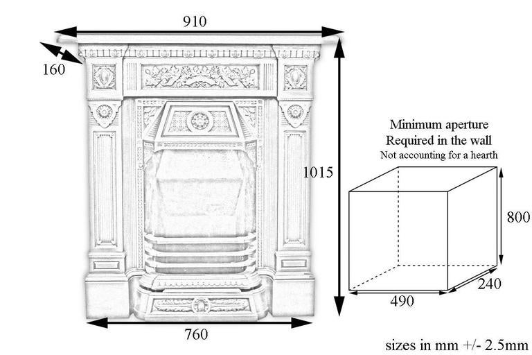 Late Victorian Cast Iron Combination Fireplace For Sale at