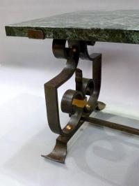 Wrought Iron and Marble Coffee Table For Sale at 1stdibs