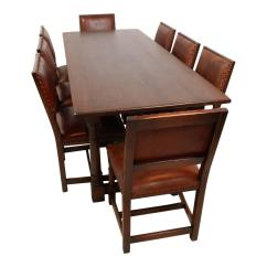 Dining Table With Leather Chairs Costco Bean Bag Chair Mid 20th Century Oak Room Eight