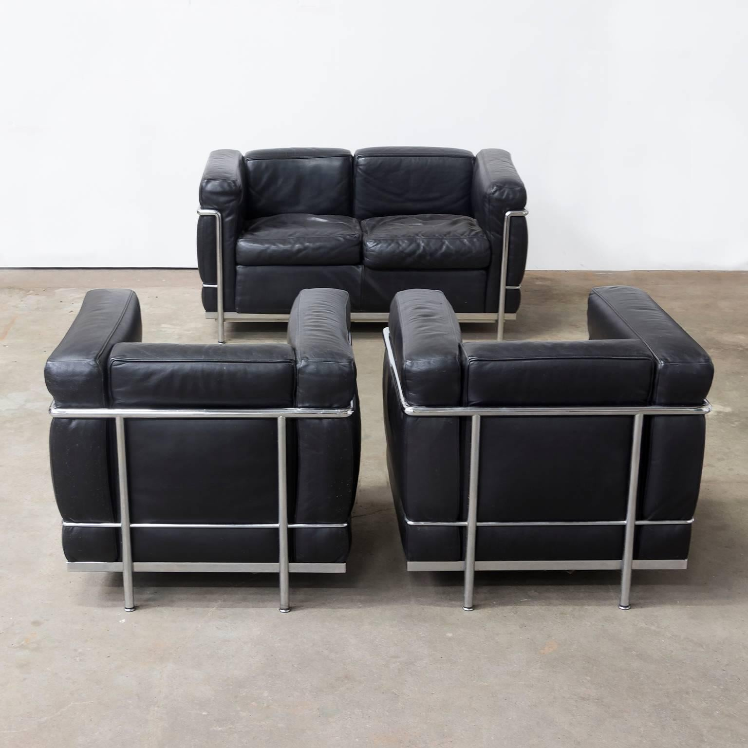 1928 Le Corbusier LC2 Easy Chair Black Leather by