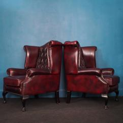 Oxblood Leather Wing Chair Rentals Nj English Vintage Wingback Chesterfield