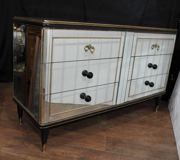 Antique Art Deco Mirrored Cabinet Chest Of Drawers 1920s