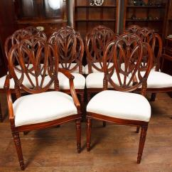 Dining Chair Styles Antique Oak And Leather Room Chairs Set Of Mahogany Hepplewhite Style For Sale