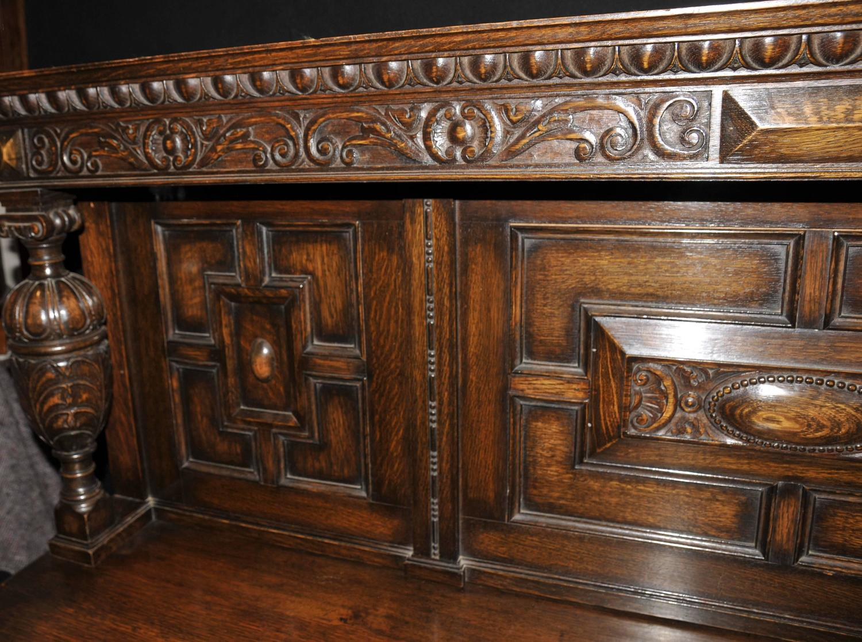 Antique Oak Jacobean Sideboard Server Buffet For Sale at