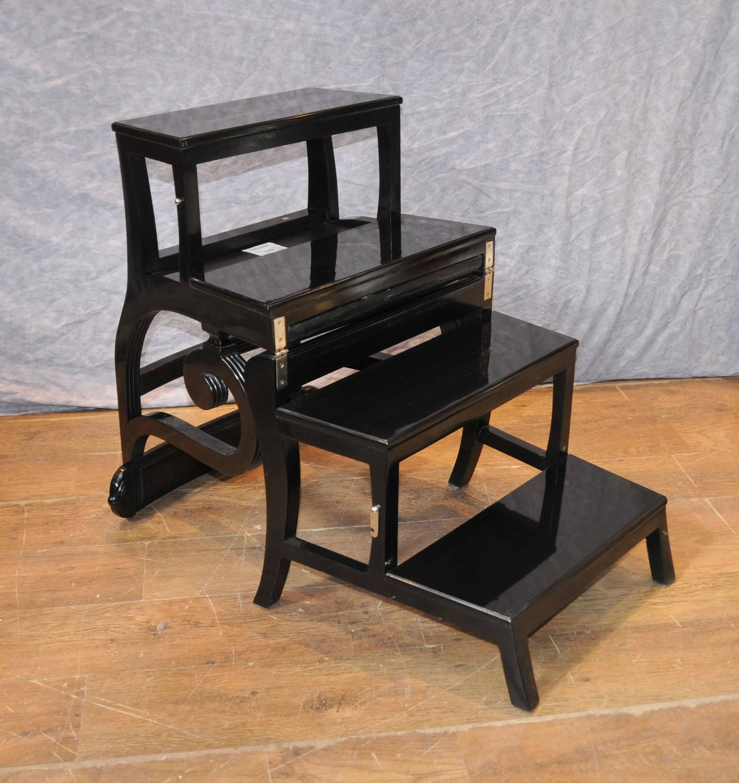 library chair ladder alex arhaus black lacquer regency metamorphic step